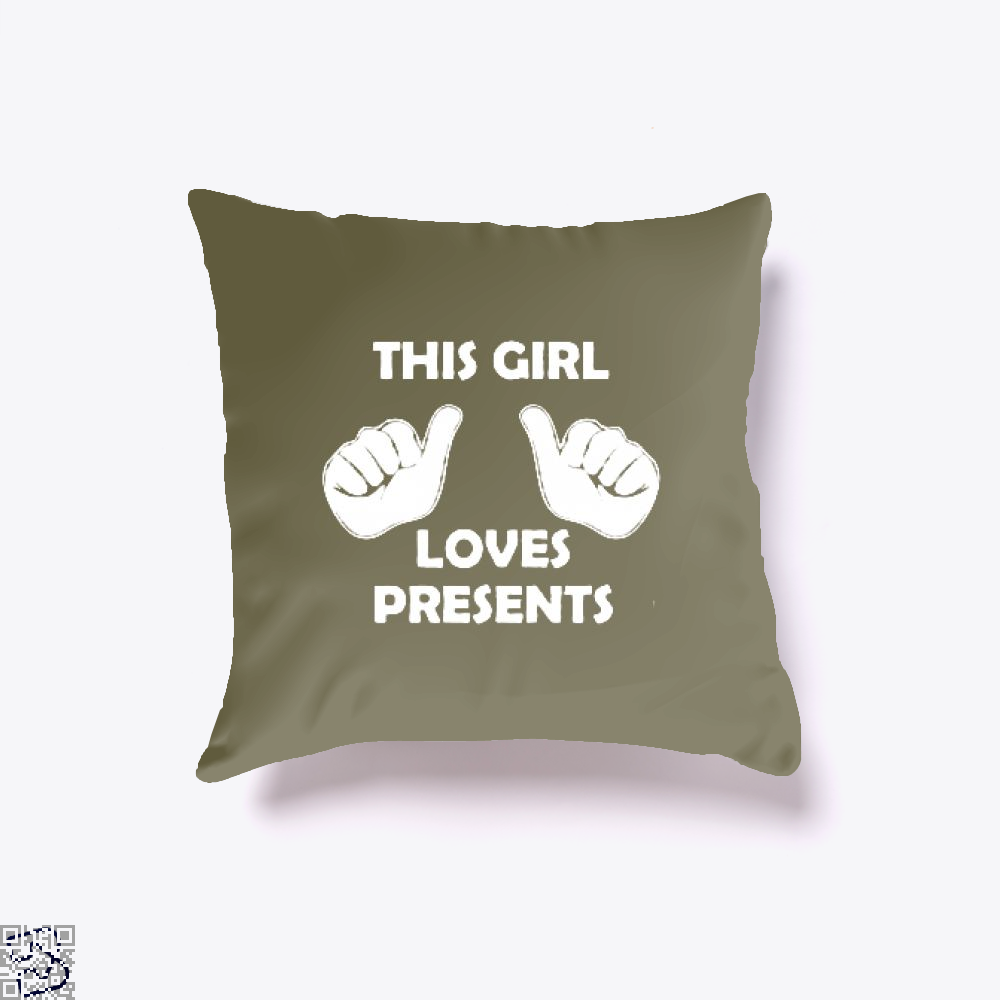 This Girl Loves Presents Deadpan Throw Pillow Cover - Brown / 16 X - Productgenjpg