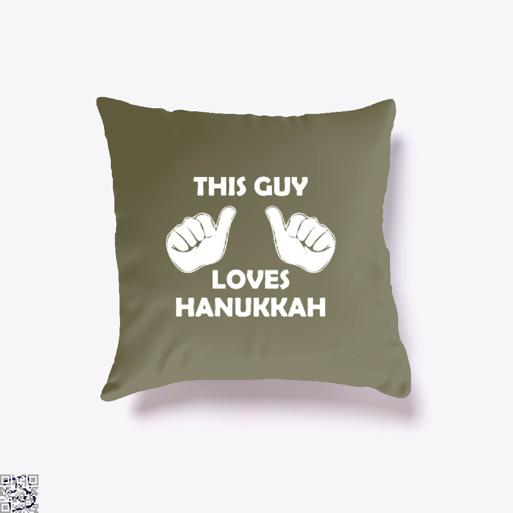 This Guy Loves Hanukkah Deadpan Throw Pillow Cover - Brown / 16 X - Productgenjpg
