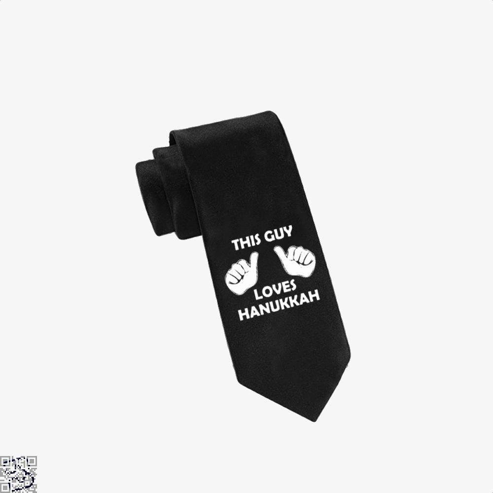 This Guy Loves Hanukkah Deadpan Tie - Black - Productgenjpg