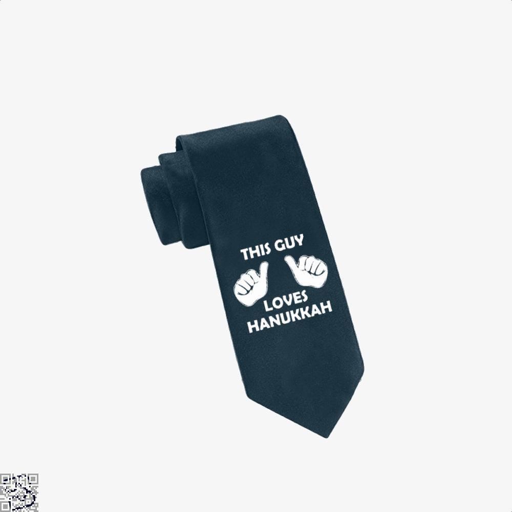 This Guy Loves Hanukkah Deadpan Tie - Navy - Productgenjpg