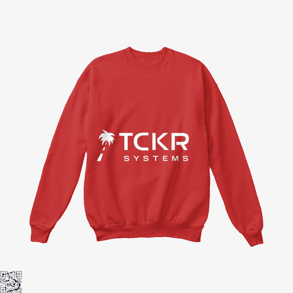 Tomorrows Technology Black Mirror Crew Neck Sweatshirt - Red / X-Small - Productgenjpg