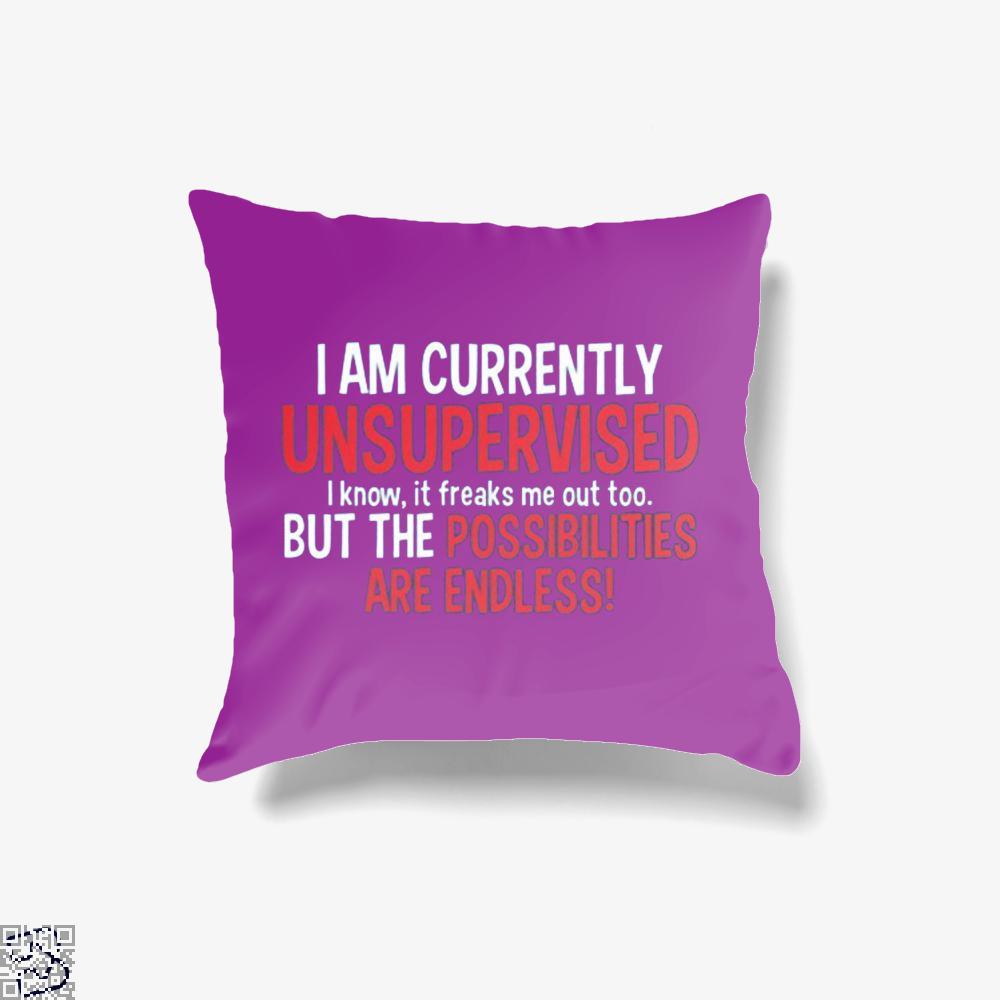 I Am Currenty Unsupervised, Anecdotal Throw Pillow Cover