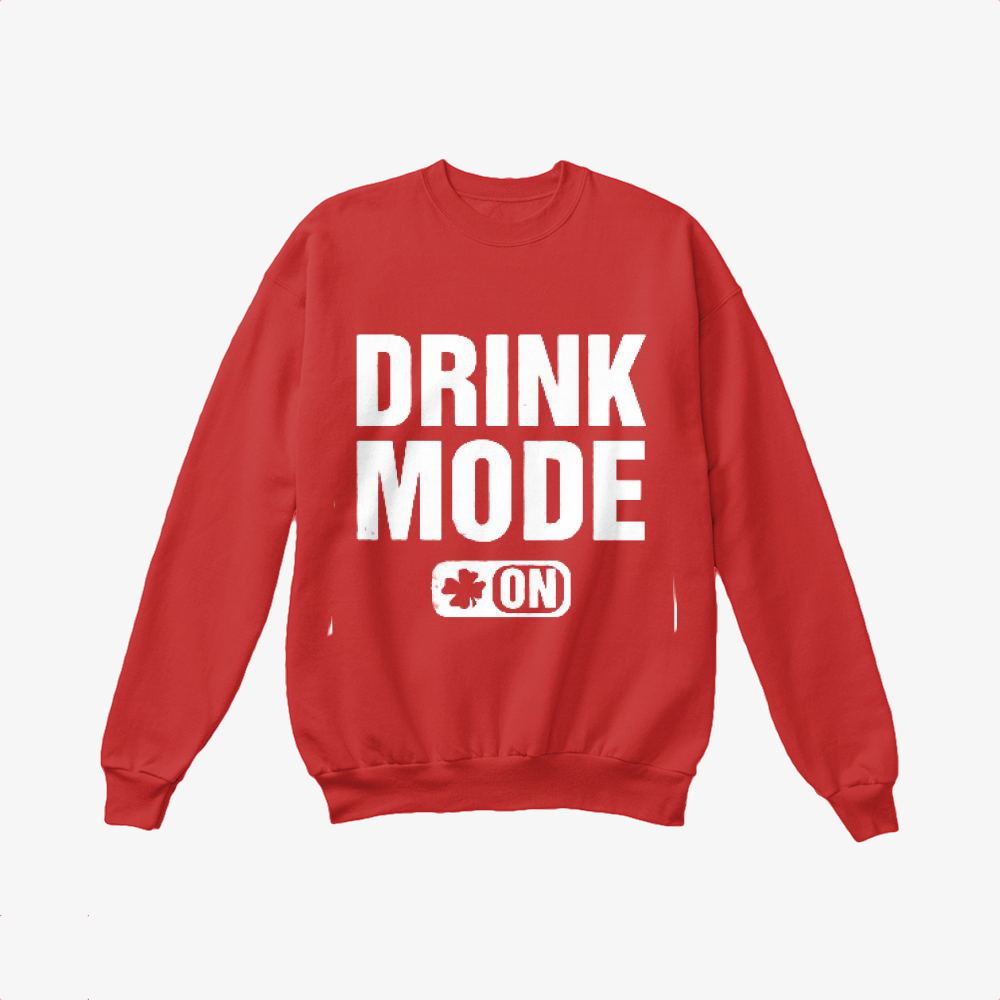 Drink Mode On, Irish Clover Crewneck Sweatshirt