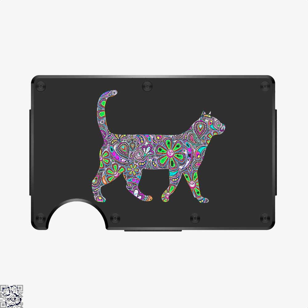 Rainbow Floral Cat, Cat Aluminum Wallet