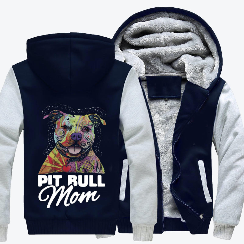 The Colorful Pit Bull Mom, Pitbull Fleece Jacket