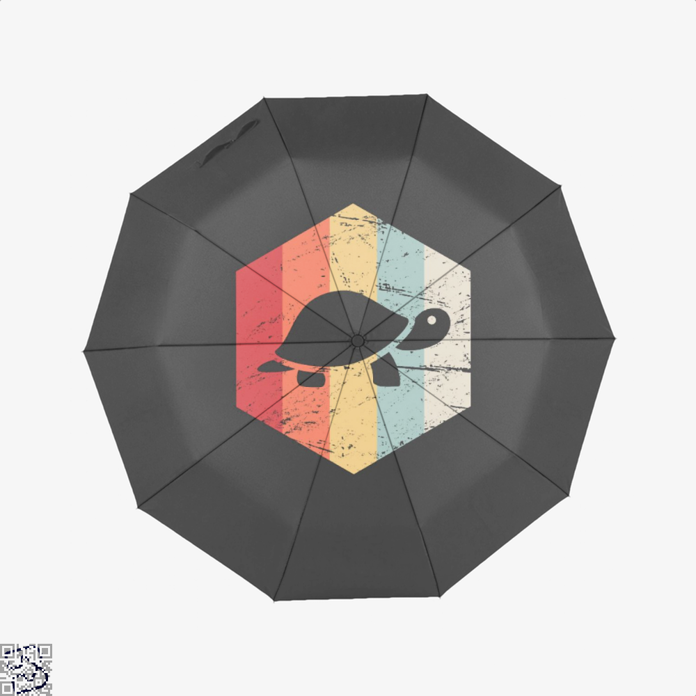 Vintage Retro 70S Turtle Sea Turtles Umbrella - Black - Productgenjpg