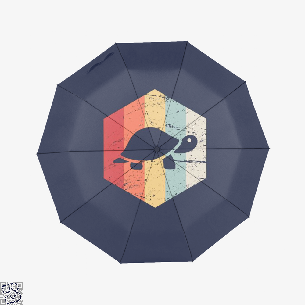 Vintage Retro 70S Turtle Sea Turtles Umbrella - Blue - Productgenjpg