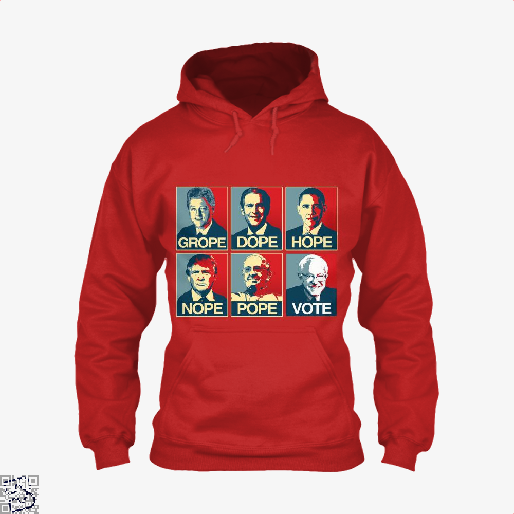 Vote Bernie Sanders Grope Dope Hope Nope Pope Parodic Hoodie - Red / X-Small - Productgenjpg