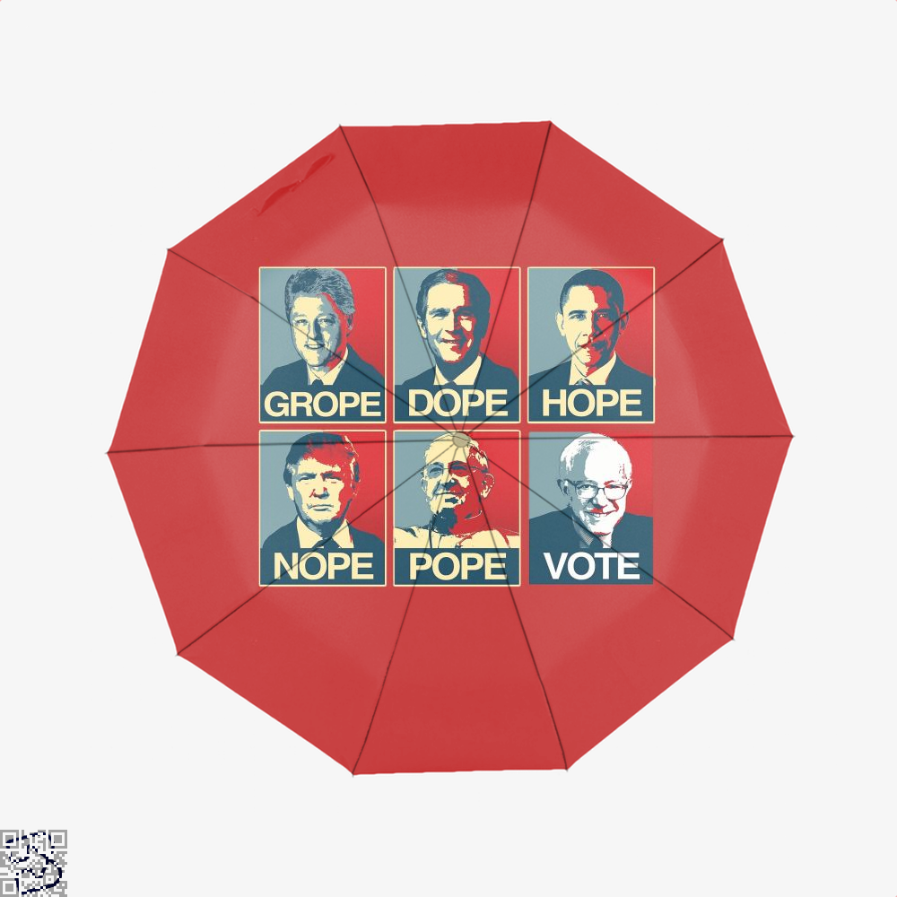 Vote Bernie Sanders Grope Dope Hope Nope Pope Parodic Umbrella - Red - Productgenjpg