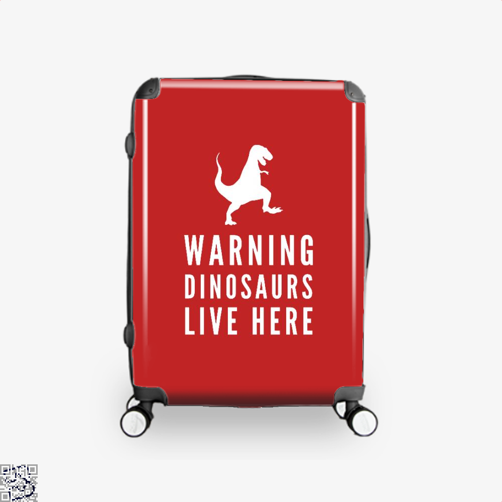Warning Dinosaurs Live Here Jurassic World Suitcase - Red / 16 - Productgenapi