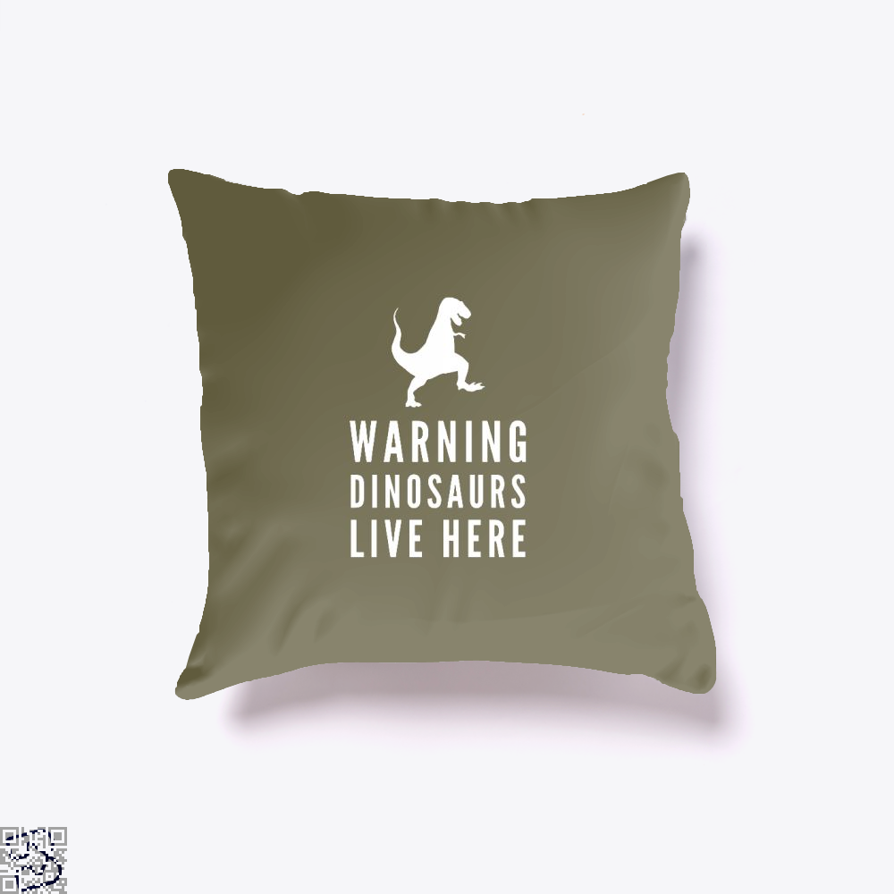 Warning Dinosaurs Live Here Jurassic World Throw Pillow Cover - Brown / 16 X - Productgenapi