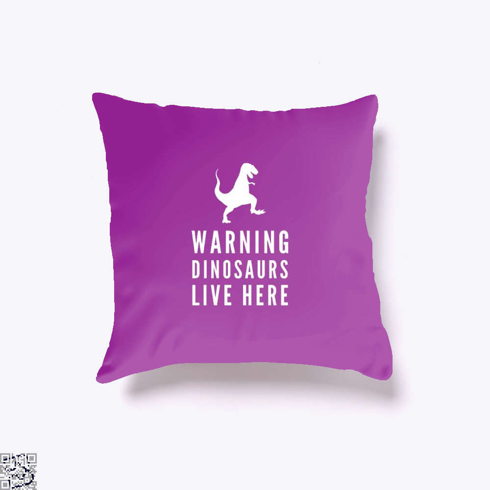Warning Dinosaurs Live Here Jurassic World Throw Pillow Cover - Purple / 16 X - Productgenapi