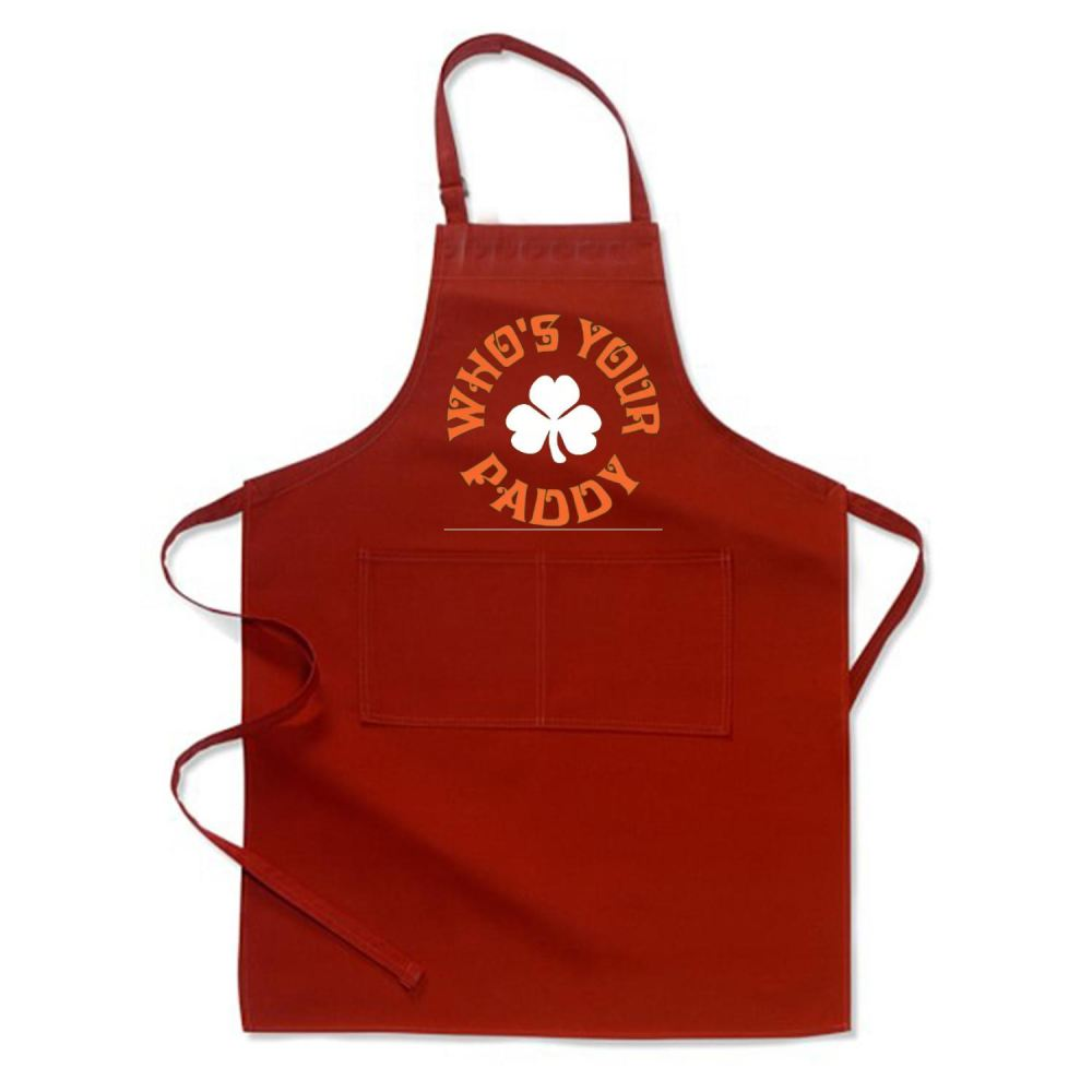 Whos Your Paddy V2 Irish Clover Apron - Red / Polyster - Productgenjpg