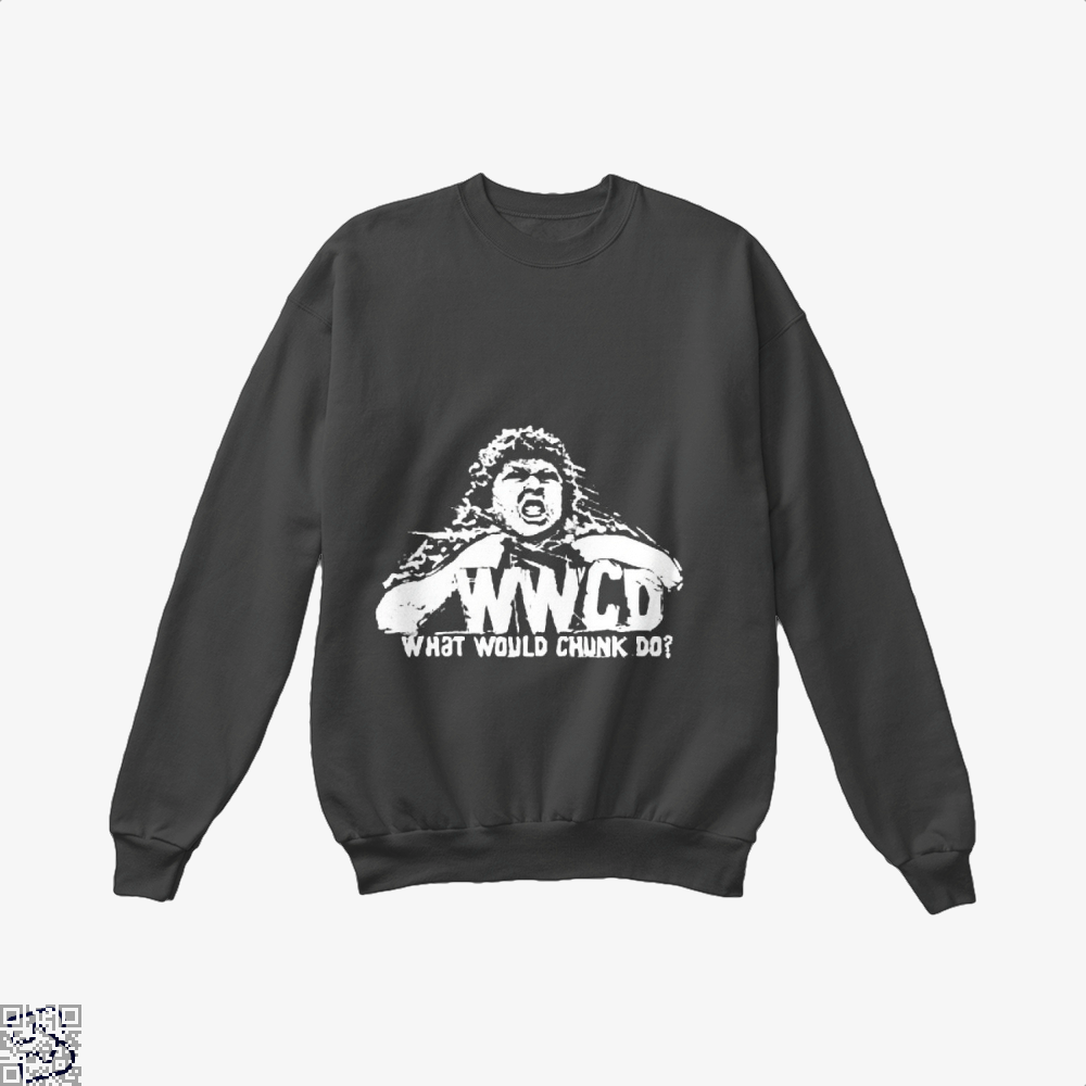 Wwcd What Would Chunk Do The Goonies Crew Neck Sweatshirt - Black / X-Small - Productgenapi