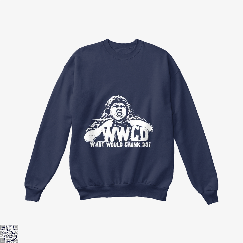 Wwcd What Would Chunk Do The Goonies Crew Neck Sweatshirt - Blue / X-Small - Productgenapi