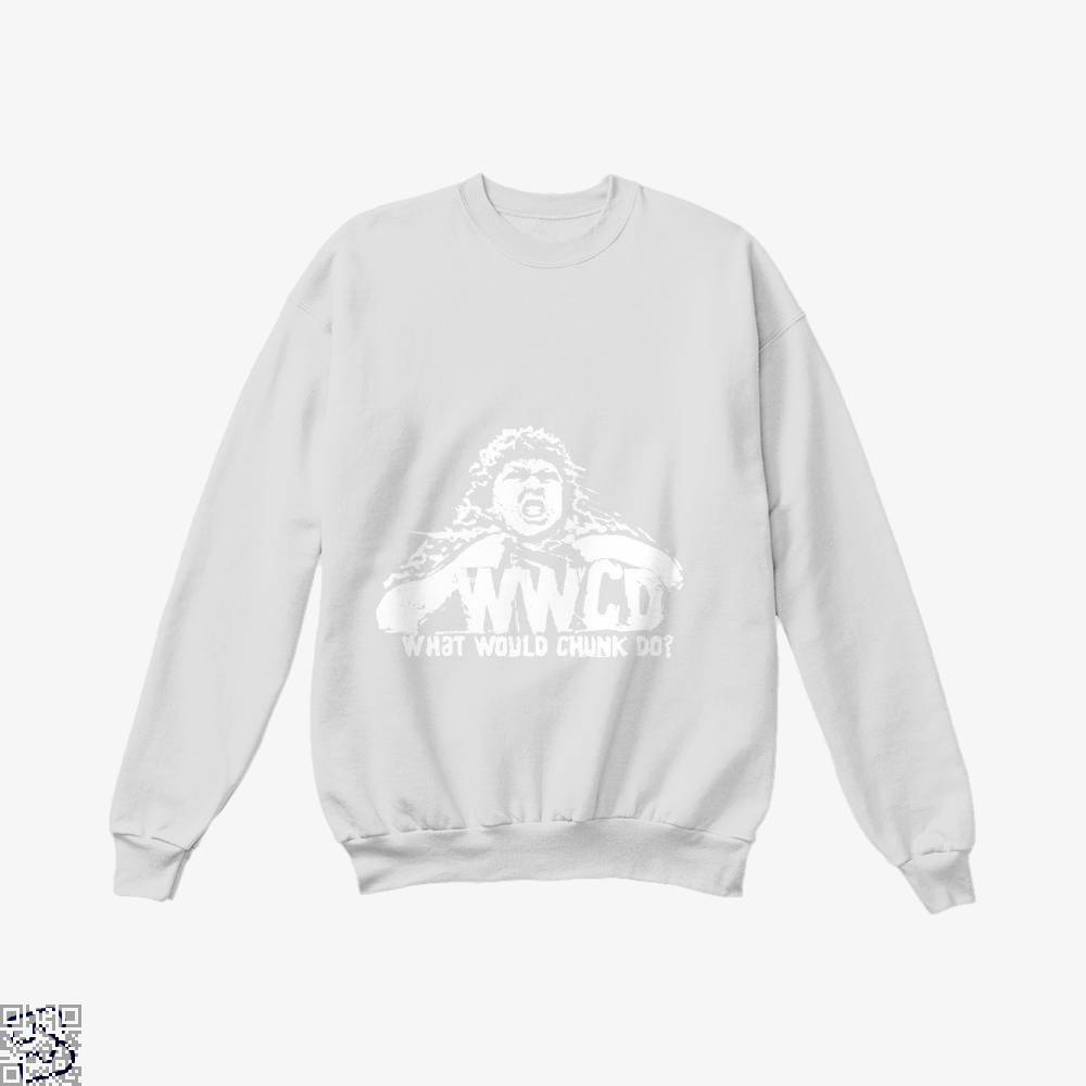 Wwcd What Would Chunk Do The Goonies Crew Neck Sweatshirt - White / X-Small - Productgenapi