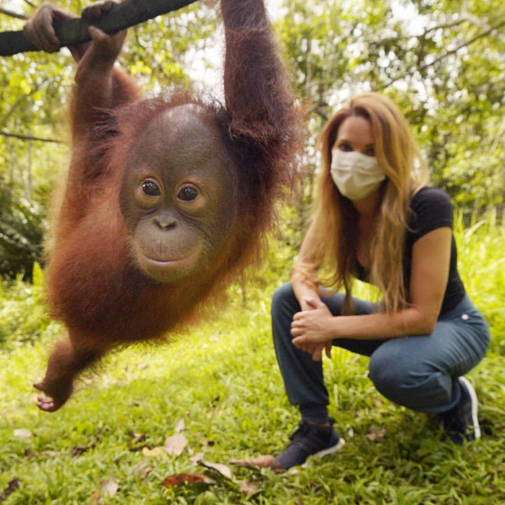 catherine with baby orangutan