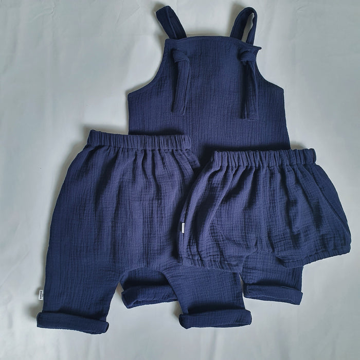 Sophie + Co/Baba of Mine Collab - Navy Cotton Dungarees