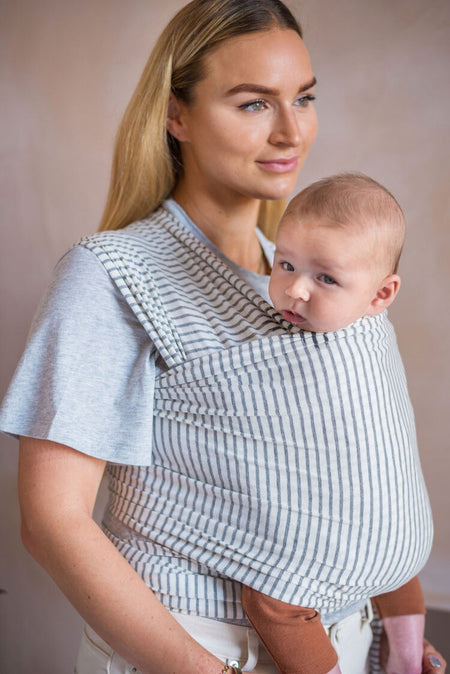 Organic Cotton Baby Wrap - Smallhausen Grey Marl Stripe