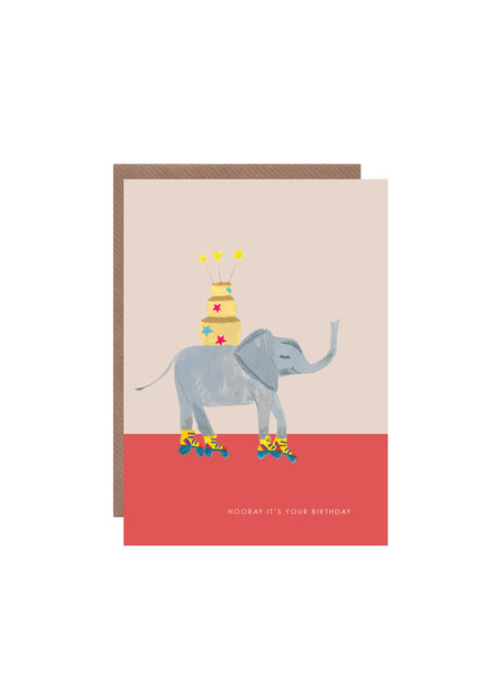 Elephant On Roller Skates birthday card
