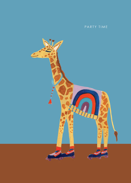 Giraffe On Roller Skates birthday card