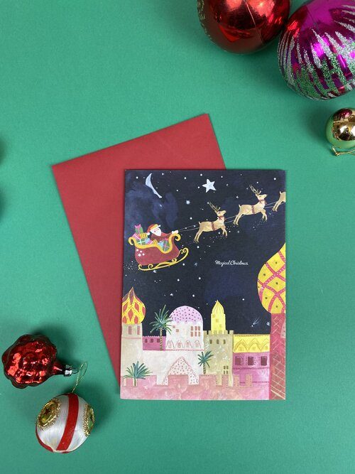 Santa Magical Sky Christmas Card