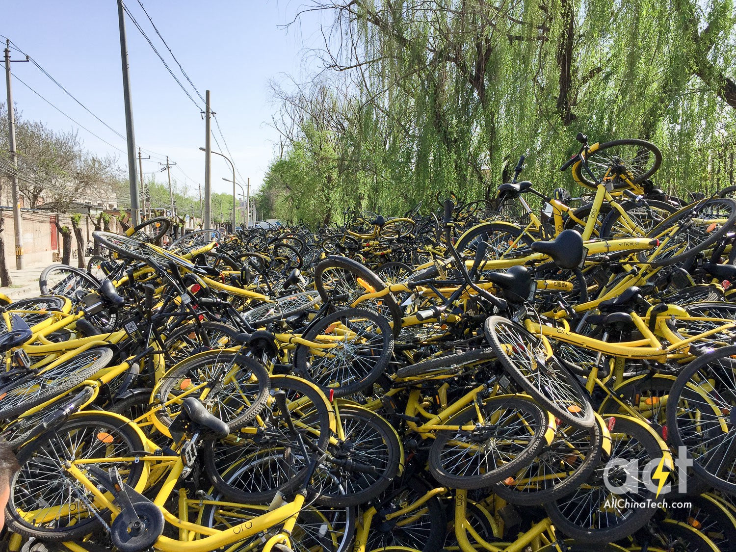 bicycles from sharing company vandalised