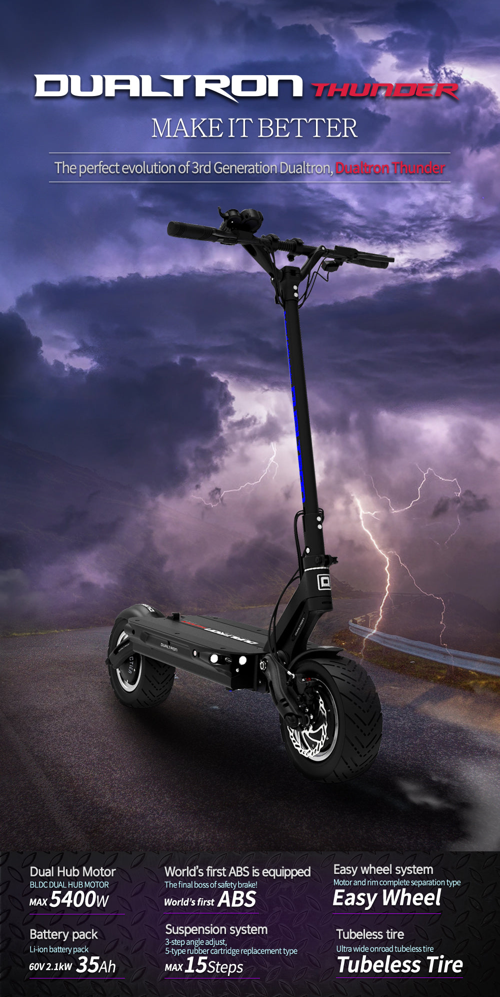 Dualtron Thunder electric scooter specs
