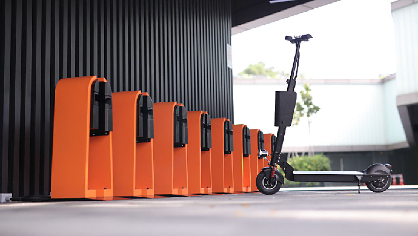e-scooter sharing docking stations