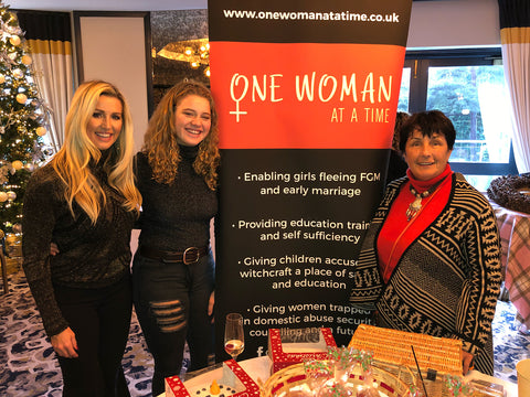 One Woman at a Time charity stand with Leanne Brown and Jean Anderson