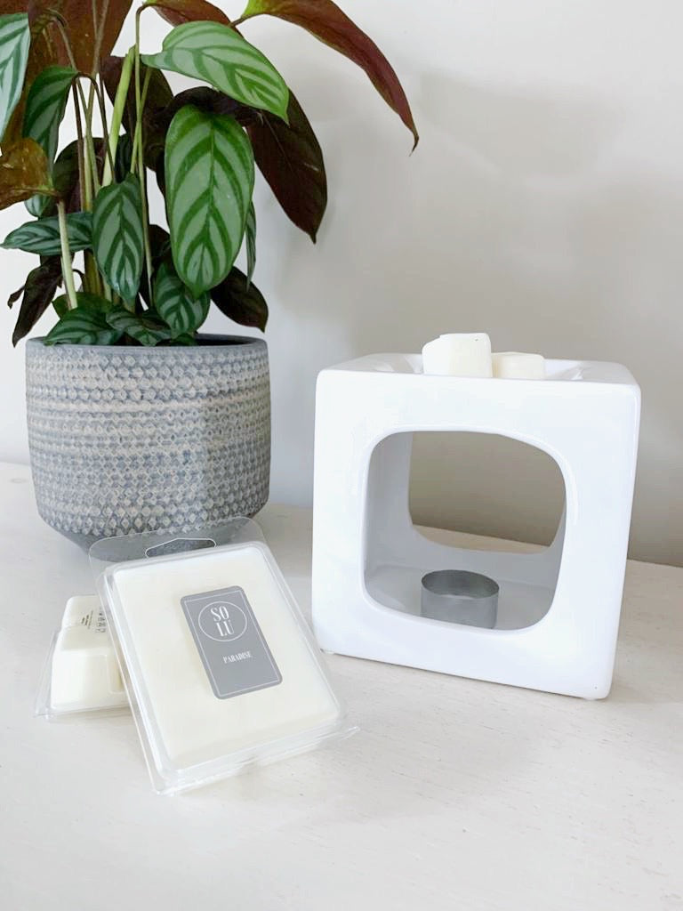Wax Melt Burner - Gloss White Talin - Solu Candles