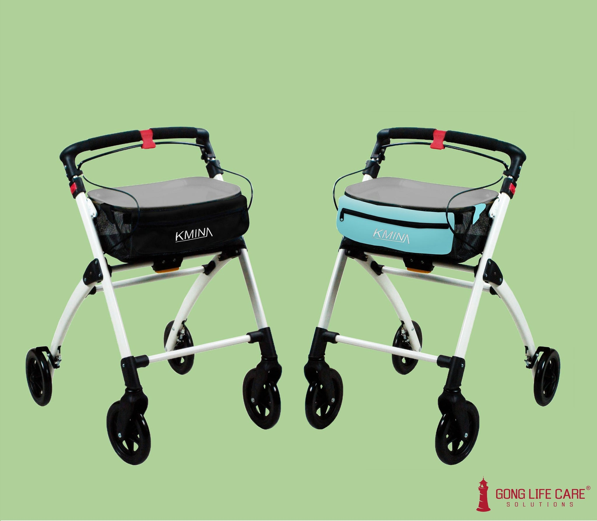 KMINA Rollators with black & blue basket