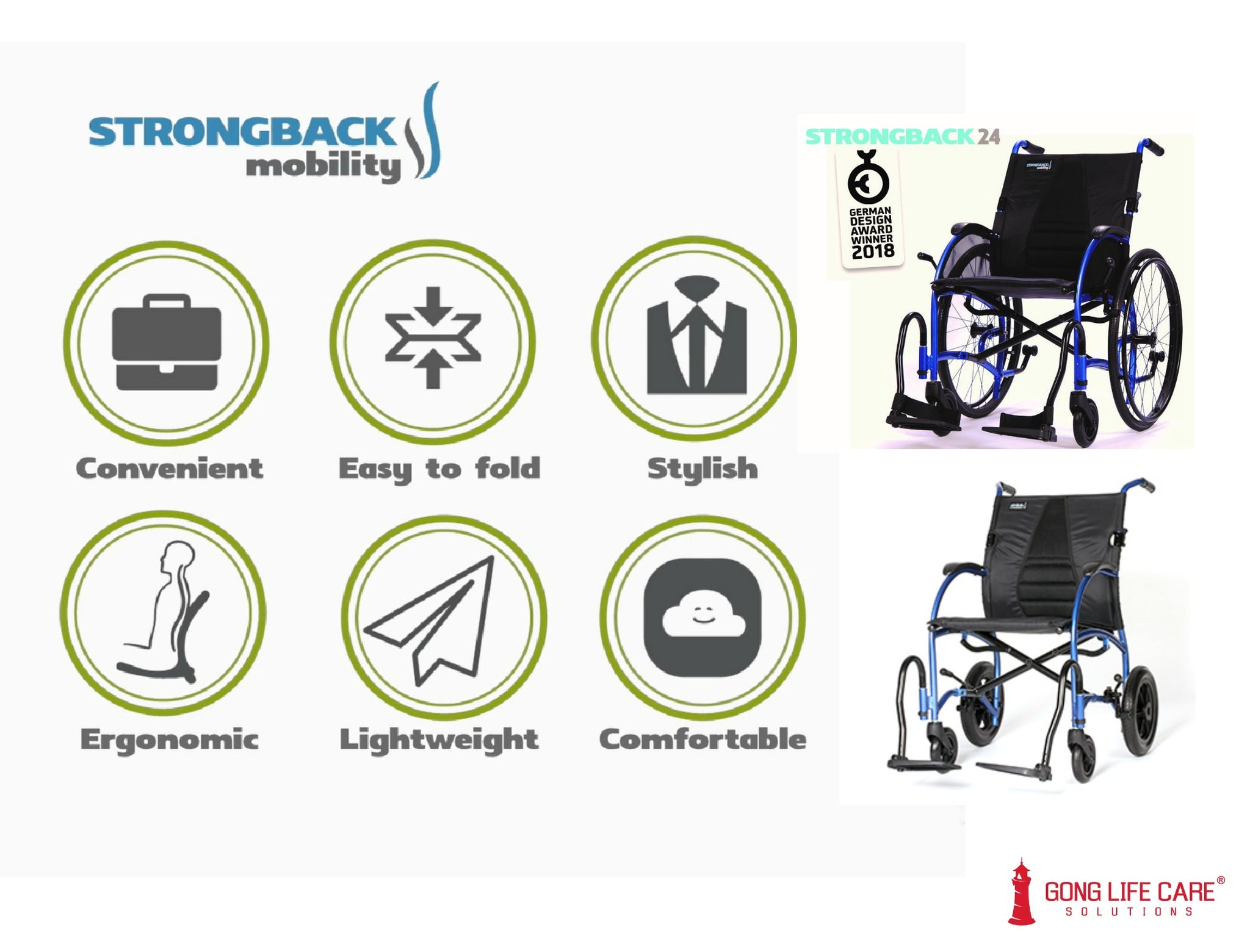 Assistive Technology, Mobility, STRONGBACK Wheelchair - Gong Life Care Solutions