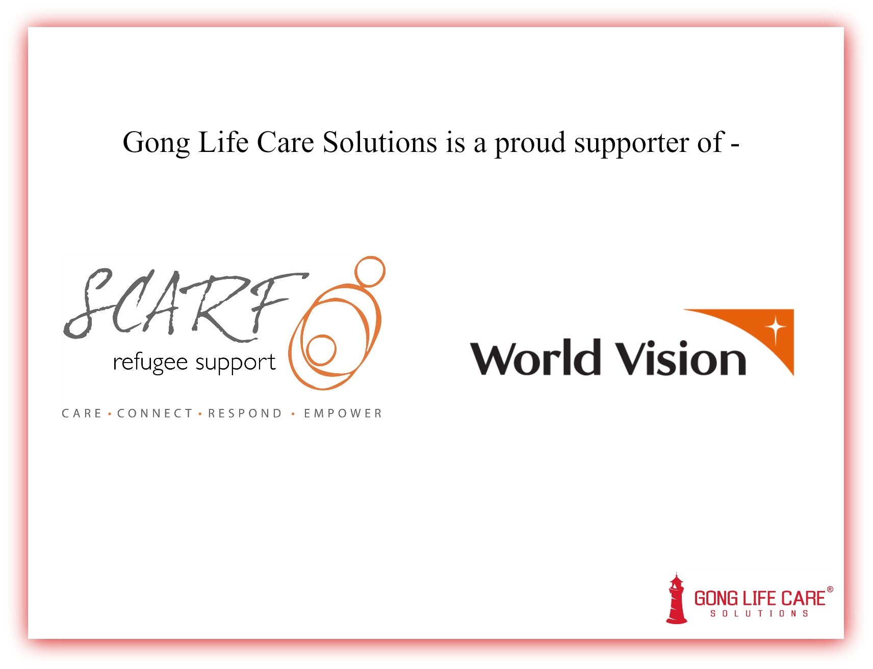 Gong Life Care Solutions, Strategic Community Assistance for Refugee Families, World Vision