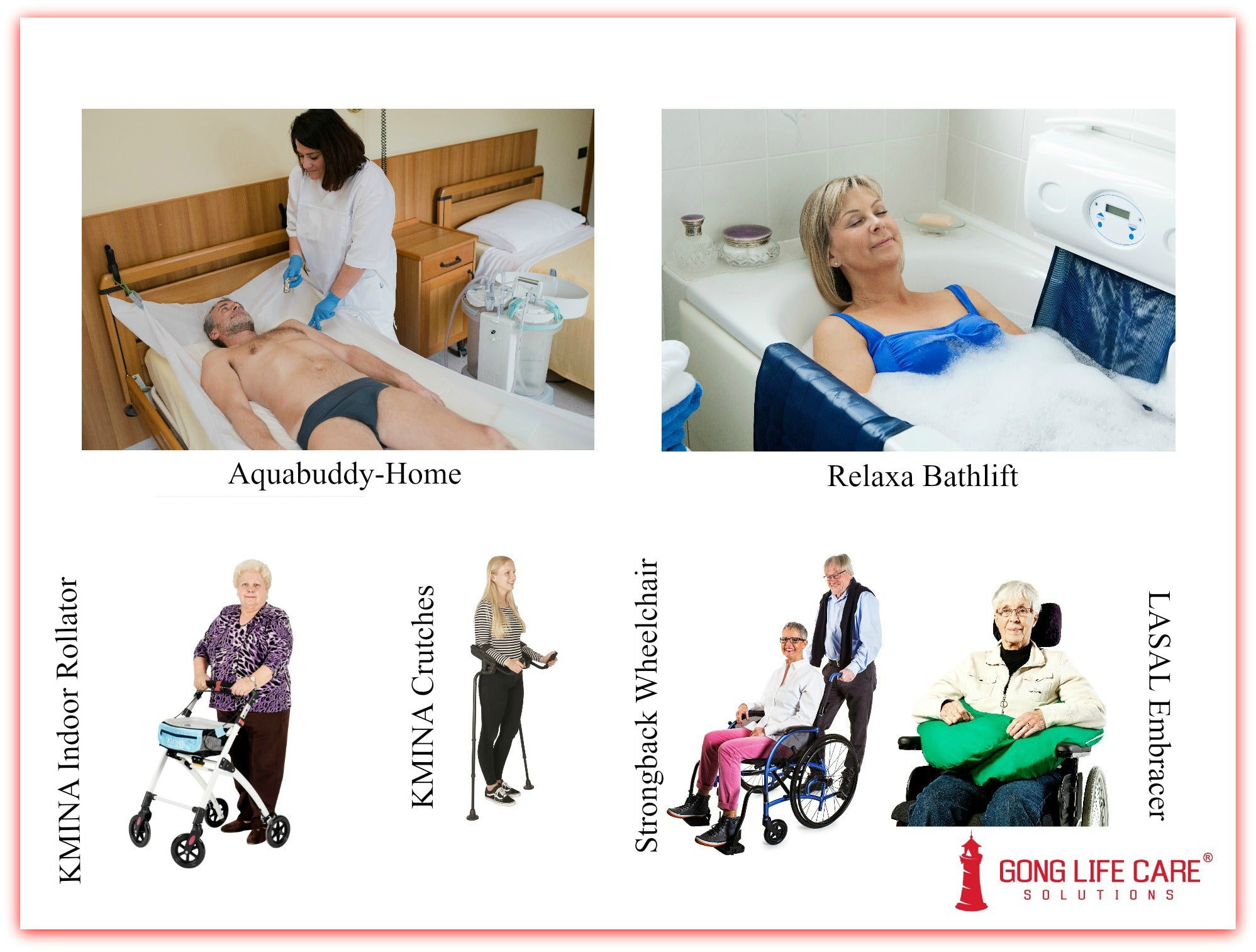 Shower in Bed, Shower Trolley, Bath Lift, Walker, Rollator, Crutches, Wheelchair, Positioning Cushion