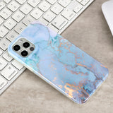 Blue and gold marbling Soft TPU case for iPhone