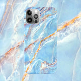 Blue and gold marbling case for iPhone