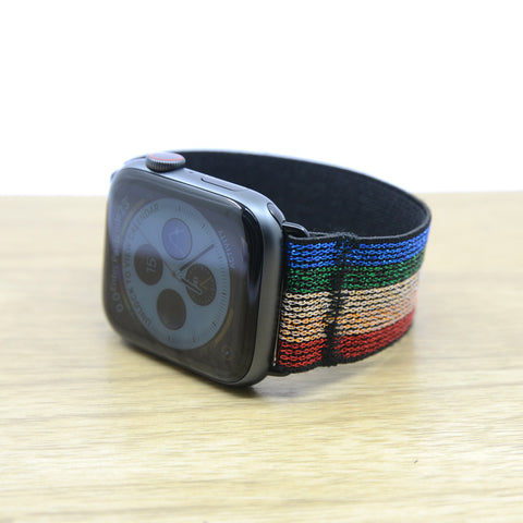 Tefeca Colorful Glitter Stripe Pattern Stretch Elastic Apple Watch Band 38mm/40mm  42mm/44mm - ECGSA