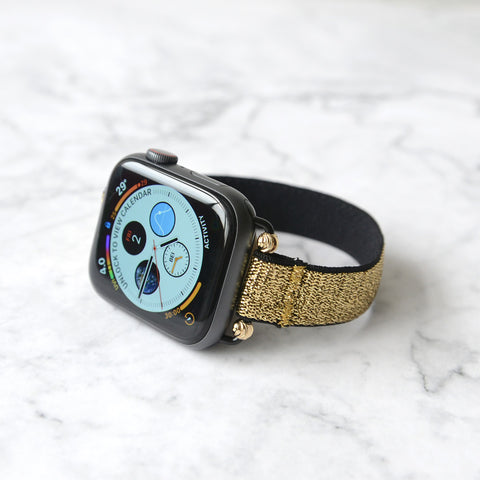 Tefeca Beaded Thin Gold Glitter Stretch Elastic Apple Watch Band 38mm/40mm/42mm/44mm - EBTGG