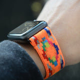 Tefeca Orange Geometry Pattern Stretch Elastic Apple Watch Band 38mm/40mm  42mm/44mm - EGO