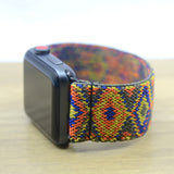 Tefeca Blue Aztec Pattern Stretch Elastic Apple Watch Band 38mm 42mm-EA3
