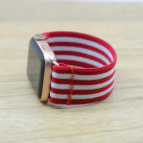 Tefeca Red Stripe Pattern Stretch Elastic Apple Watch Band 38mm/40mm  42mm/44mm - ERSB