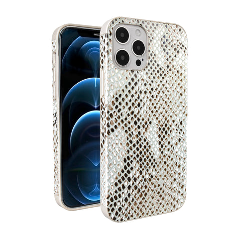 Tefeca Snake Pattern Calf Leather case, Compatible with iphone 12 case, iphone 12 pro case