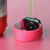 Tefeca Small Polka dots pattern Pink Elastic Apple Watch Band 38mm/40mm  42mm/44mm - EPDK