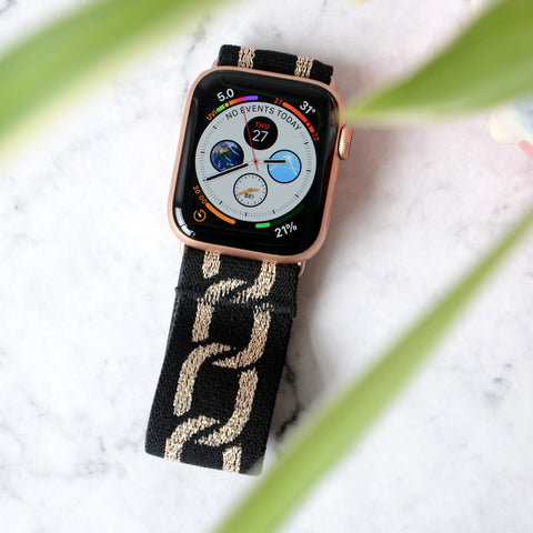 Tefeca Gold Glitter Chain Black Stretch Elastic Apple Watch Band 38mm/40mm  42mm/44mm - EGGC