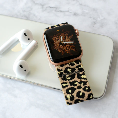 Tefeca Beige Cheetah/leopard Pattern Elastic Apple Watch Band 38mm/40mm  42mm/44mm - TBLB