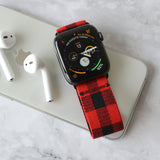 Tefeca Black&Red Plaid Pattern  Elastic Apple Watch Band 38mm/40mm  42mm/44mm - BRPB