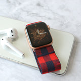 Tefeca Blue&Red Plaid Pattern  Elastic Apple Watch Band 38mm/40mm  42mm/44mm - BEPB