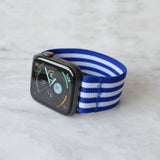Tefeca Blue Stripe Pattern Stretch Elastic Apple Watch Band 38mm/40mm  42mm/44mm - EBSB