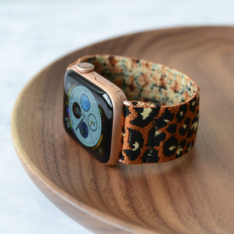 Tefeca Brown Cheetah/leopard Pattern  Elastic Apple Watch Band 38mm/40mm  42mm/44mm - TOLB